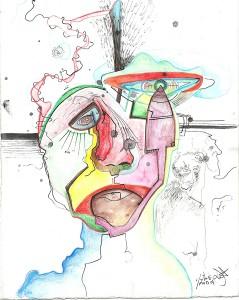 El Visitante - Watercolor pencil and ink on paper 18 by 23 cm. 2014